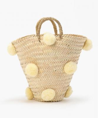 【Fatima Morocco】ポンポンバケツ バスケット CreamFAT00008