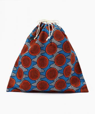 【Fatima Morocco】巾着/アフリカンプリント マルチブルーFAT00034