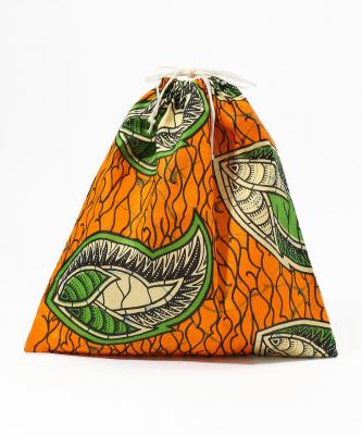 【Fatima Morocco】巾着/アフリカンプリント マルチオレンジFAT00036
