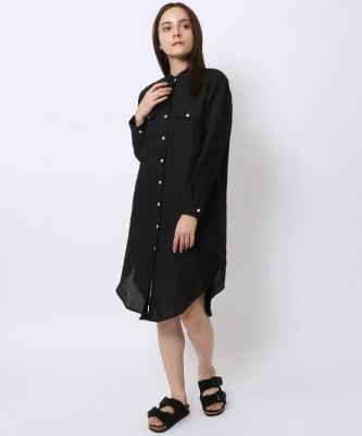 【GOOD STUDIOS】MANDARIN COLLAR SHIRTDRESS/マンダリンカラーシャツドレス ブラックGOO00014