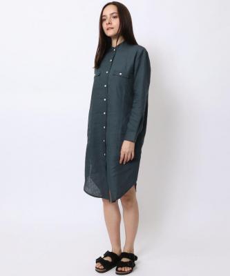 【GOOD STUDIOS】MANDARIN COLLAR SHIRTDRESS/マンダリンカラーシャツドレス インディゴGOO00015
