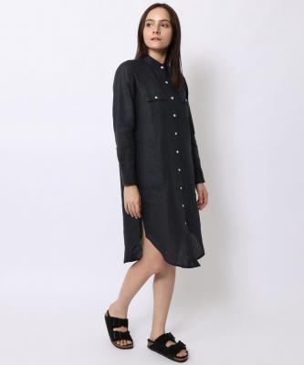 【GOOD STUDIOS】MANDARIN COLLAR SHIRTDRESS/マンダリンカラーシャツドレス ネイビーGOO00016