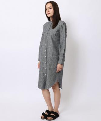 【GOOD STUDIOS】MANDARIN COLLAR SHIRTDRESS/マンダリンカラーシャツドレス シャンブレーGOO00017