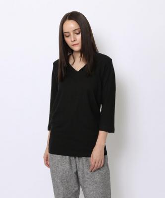 【GOOD STUDIOS】3/4 SLEEVE V/3/4スリーブ VネックTシャツ ブラックGOO00188