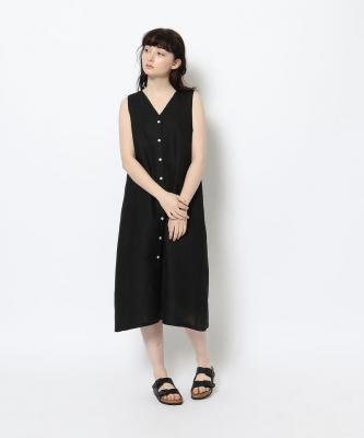 【GOODSTUDIOS】BUTTON V DRESS/ボタンVドレス ブラックGOO00481