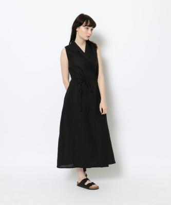 【GOODSTUDIOS】SLEEVELESS WRAP DRESS/スリーブレスラップドレス ブラックGOO00497