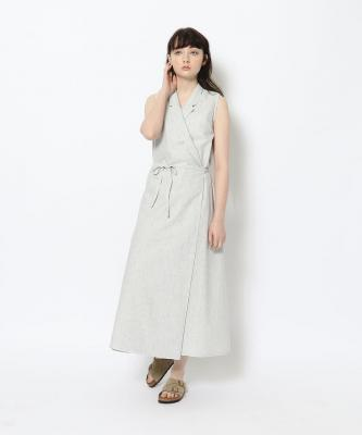 【GOODSTUDIOS】SLEEVELESS WRAP DRESS/スリーブレスラップドレス ストライプGOO00500