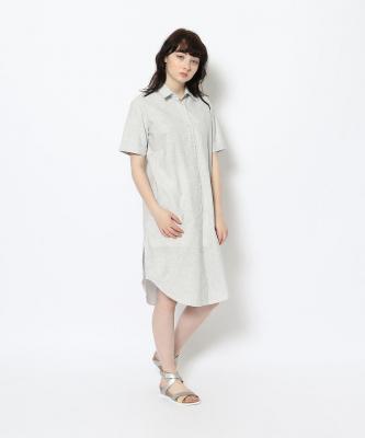 【GOOD STUDIOS】SHORT SLEEVE SHIRTDRESS/ショートスリーブシャツドレス ストライプGOO00565