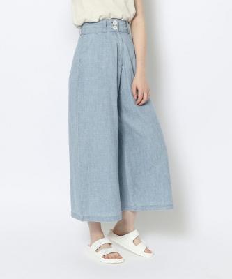 【GOOD STUDIOS】LIN/CTN WIDE LEG PANT/リネンコットン ワイド レッグ パンツ ライトデニムGOO00584