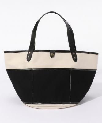 【TAMPICO】GARDEN BAG/ガーデンバッグ キャンバス ラウンドロングストラップ  ホワイト×ブラックTAP00004